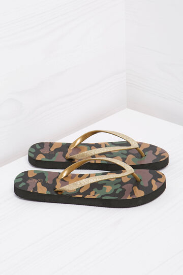 Thong sandals with camouflage print, Brown, hi-res