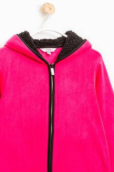 Fleece top with hood and fur lining, Fuchsia, hi-res