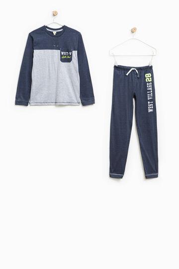 Two-tone pyjamas with small pocket