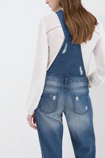 Salopette di jeans con strappi, Lavaggio medio, hi-res