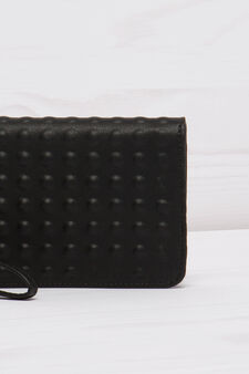 Solid colour leather look clutch., Black, hi-res