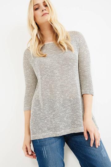 Curvy mélange cotton blend T-shirt, White/Black, hi-res