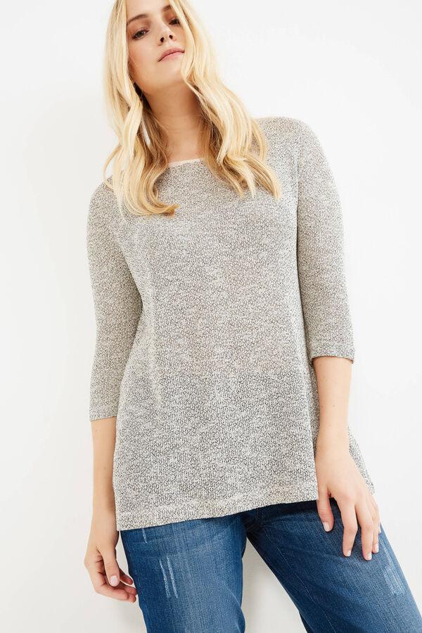 Curvy mélange cotton blend T-shirt | OVS
