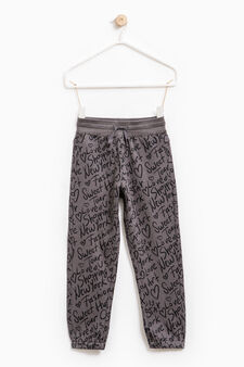 Patterned joggers in 100% cotton, Dark Grey, hi-res
