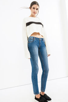 Mis-dyed, stretch skinny-fit jeans, Blue, hi-res