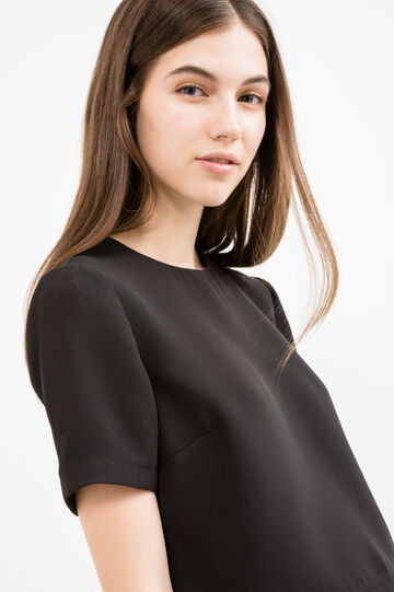 Stretch crop T-shirt with zip, Black, hi-res