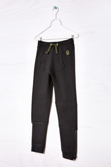 Pantaloni tuta puro cotone, Nero, hi-res