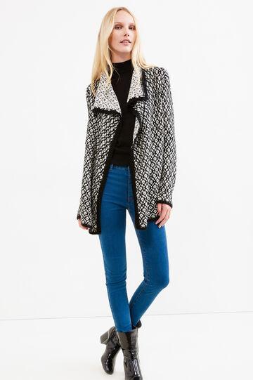Pattern cardigan with shawl neck, Black/White, hi-res