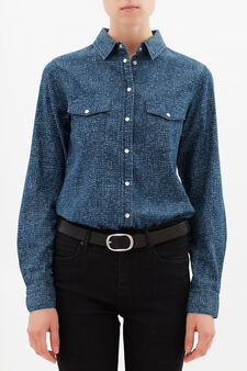 Regular fit shirt with spots, Blue, hi-res