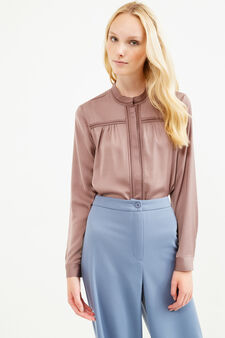 Solid colour openwork blouse, Taupe Grey, hi-res