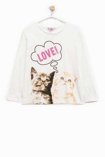 Camiseta de algodón con estampado y strass, Blanco, hi-res