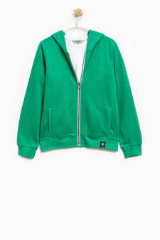 Cotton sweatshirt and T-shirt set, Emerald Green, hi-res