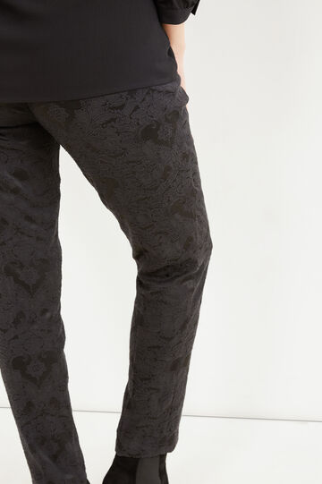 Curvy patterned trousers in stretch cotton, Dark Grey, hi-res