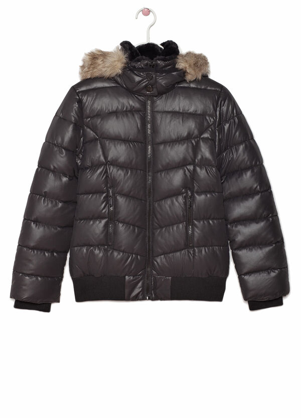 Down jacket with faux fur hood | OVS