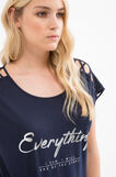 Curvy T-shirt in viscose blend with print, Navy Blue, hi-res