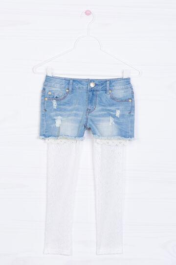 Shorts di jeans stretch sfilacciati