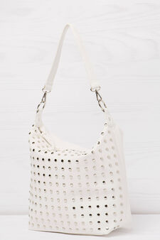 Shoulder bag with studs, White, hi-res
