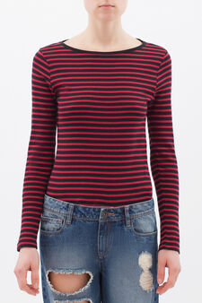 Striped T-shirt in 100% cotton, Black/Red, hi-res