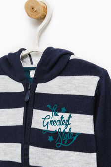 Striped pattern pullover with hood, Grey/Blue, hi-res