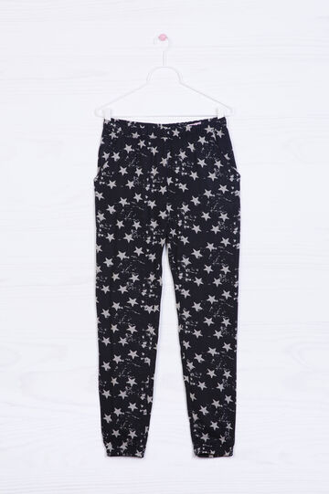 Printed trousers in 100% viscose, Black/White, hi-res