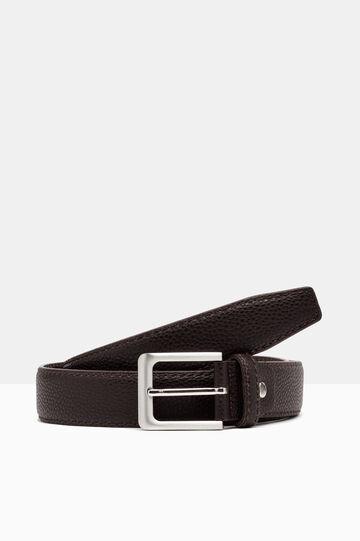 Hammered leather look belt, Dark Brown, hi-res