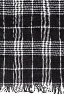 Tartan scarf with fringe, White/Black, hi-res