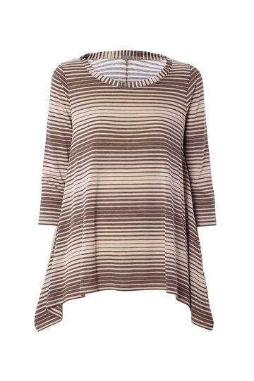 Smart Basic llared T-shirt with striped pattern, Brown, hi-res