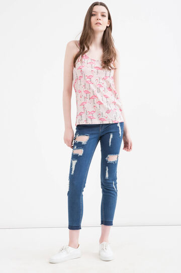 Cotton and modal blend printed top., Pink, hi-res