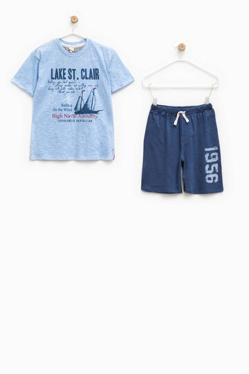 Short-sleeved top and Bermuda shorts pyjama set