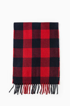 G&H checked scarf with fringe, Blue, hi-res