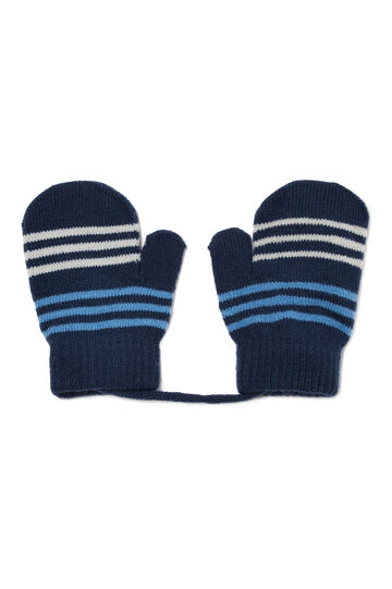 Striped pattern mittens, Navy Blue, hi-res