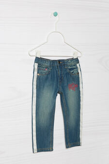 Worn-effect jeans with embroidery, Denim Blue, hi-res