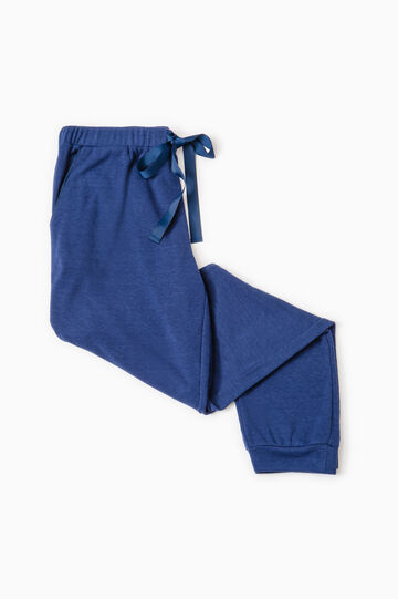Solid colour viscose pyjama trousers, Dark Blue, hi-res