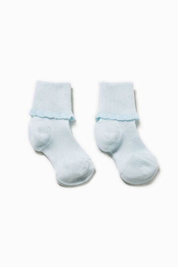 Two-pair pack socks with fold, Light Blue, hi-res