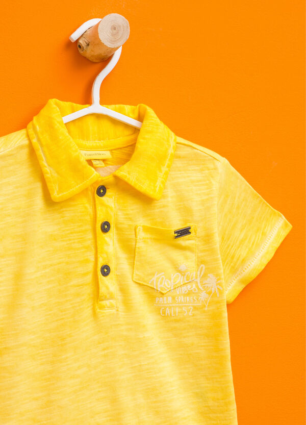 Misdyed-effect polo shirt with print | OVS