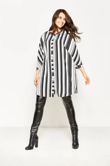 Curvy striped pinafore dress, White/Black, hi-res