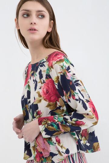 Blusa stretch con stampa floreale, Bianco panna, hi-res