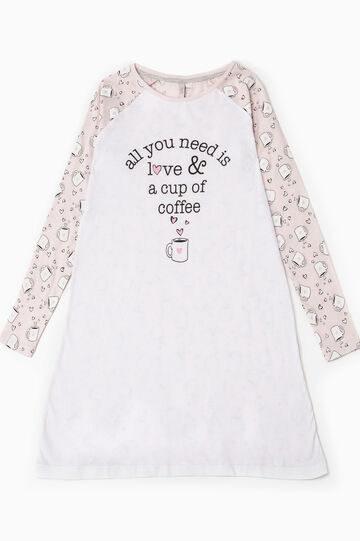 Nightdress with lettering print, White/Pink, hi-res