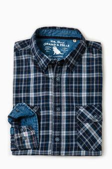 Camicia casual cotone tartan G&H, Blu, hi-res