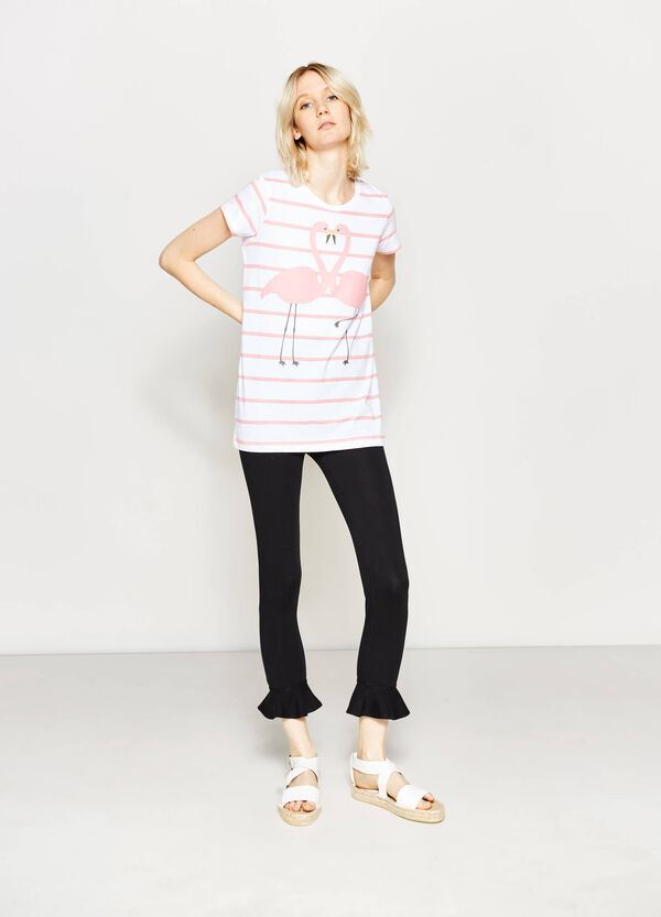 T-shirt a righe stampa fenicotteri | OVS