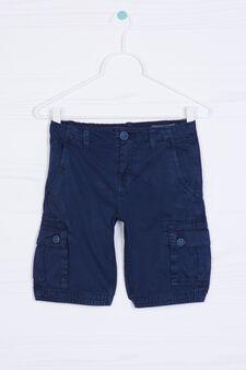 Bermuda cargo shorts in 100% cotton, Navy Blue, hi-res
