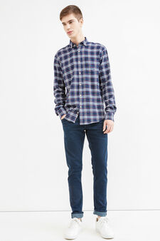 Casual check shirt in 100% cotton, Blue/Light Blue, hi-res