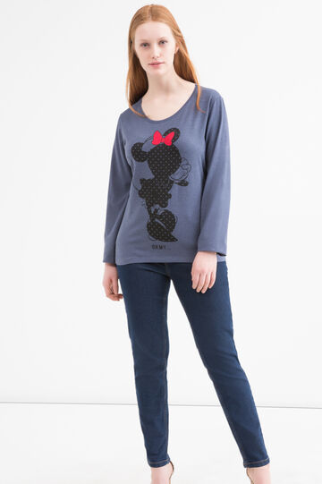 Stretch Curvy T-shirt with Minnie Mouse print, Blue Marl, hi-res