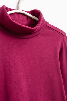 Stretch cotton turtleneck jumper, Dark Red, hi-res