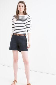 Shorts cotone stretch tinta unita, Blu navy, hi-res