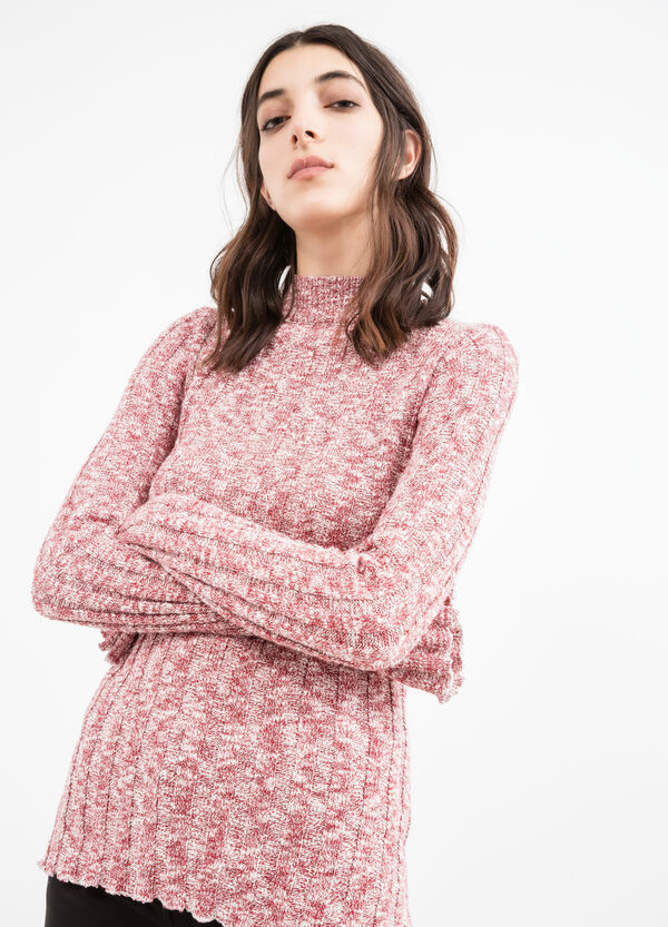 Ribbed pullover with high neck   OVS
