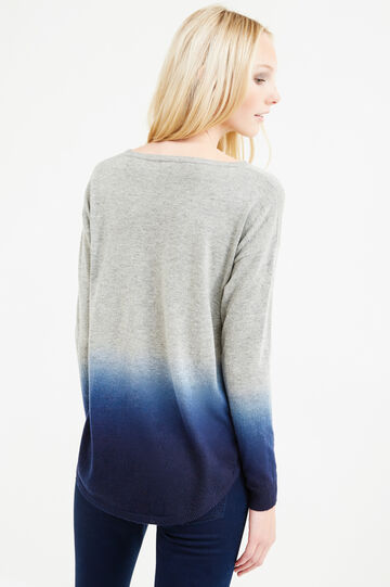 Pullover misto lana effetto degradé, Grigio/Blu, hi-res
