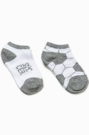 Set due paia di calze unito e fantasia, Bianco/Grigio, hi-res
