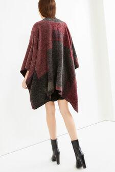 Printed knitted poncho, Grey Marl, hi-res