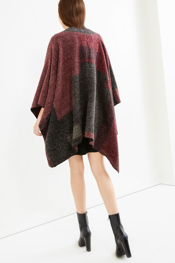 Printed knitted poncho, Grey Marl, hi-res